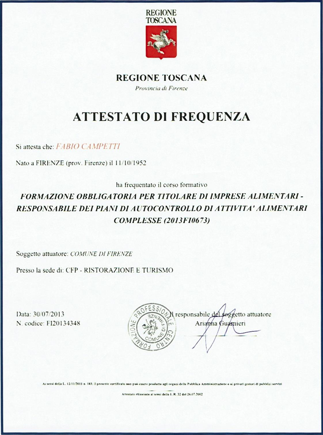 Attestato HACCP
